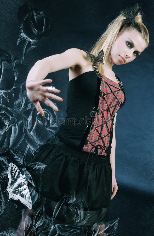 Gothic art. Art picture of teen gothic girl royalty free stock photography