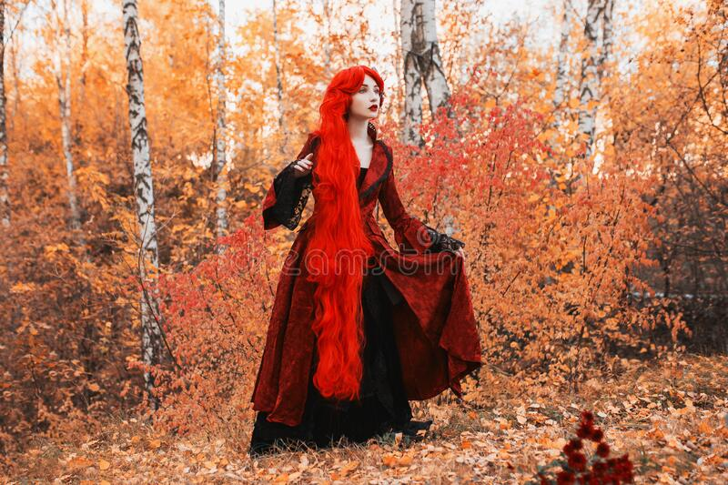 Gothic autumn coat. Fabulous cosplay. Young fairy queen on autumn background. Vampire with pale skin. Fairy outfit for halloween. stock photo