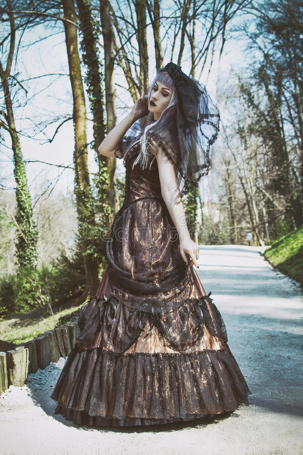 Gothic bride with veil. Beautiful Gothic bride with veil stock photos