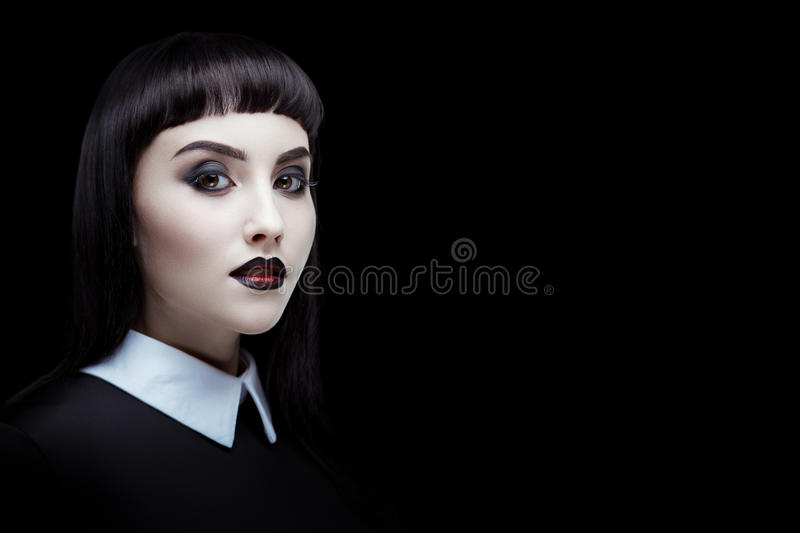 Download Gothic brunette girl stock image. Image of creepy, face - 77880001