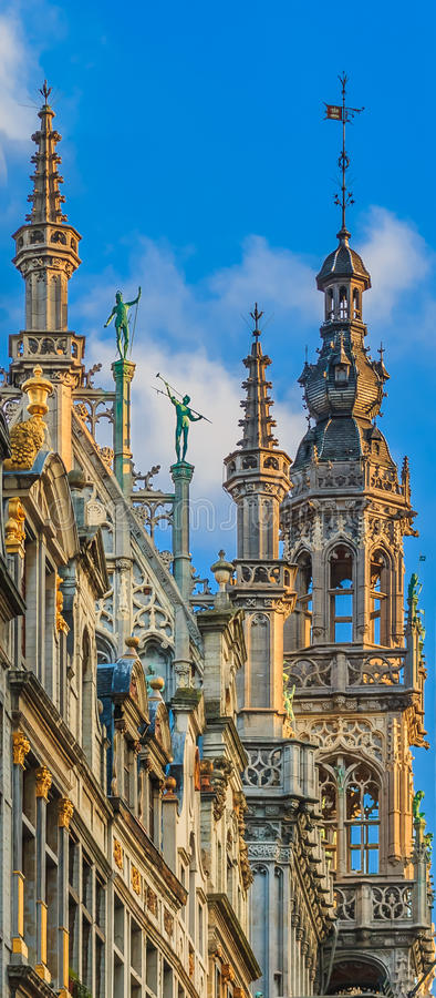 Gothic building in Grand Place Brussels stock images