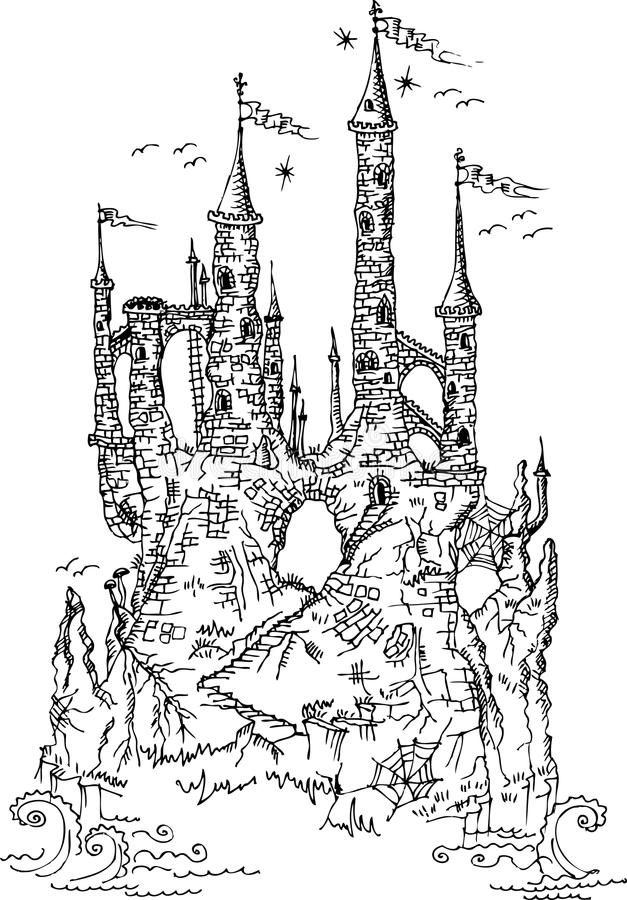 Gothic castle from fairytale III. Gothic castle from fairytale. Black-and-white vector illustration royalty free illustration