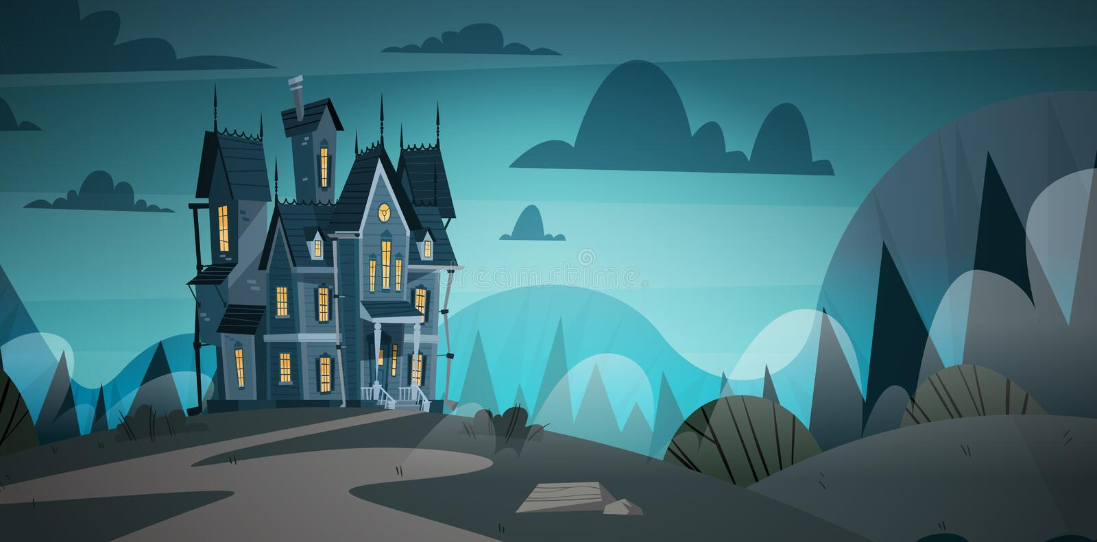 Gothic Castle House In Moonlight Scary Building With Ghosts Halloween Holiday Concept. Flat Vector Illustration stock illustration
