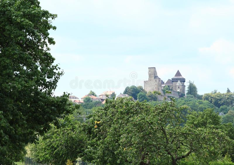 Castle Lipnice behind trees stock images