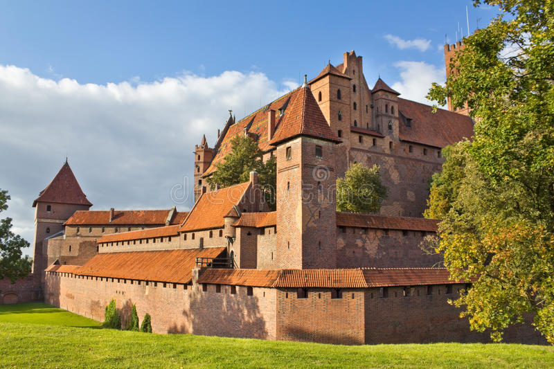 Gothic castle in Malbork, Poland. Biggest gothic castle in Europe. The former seat of the Teutonic Order stock photography