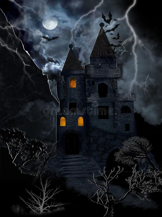 Gothic castle, storm and bats royalty free stock photos