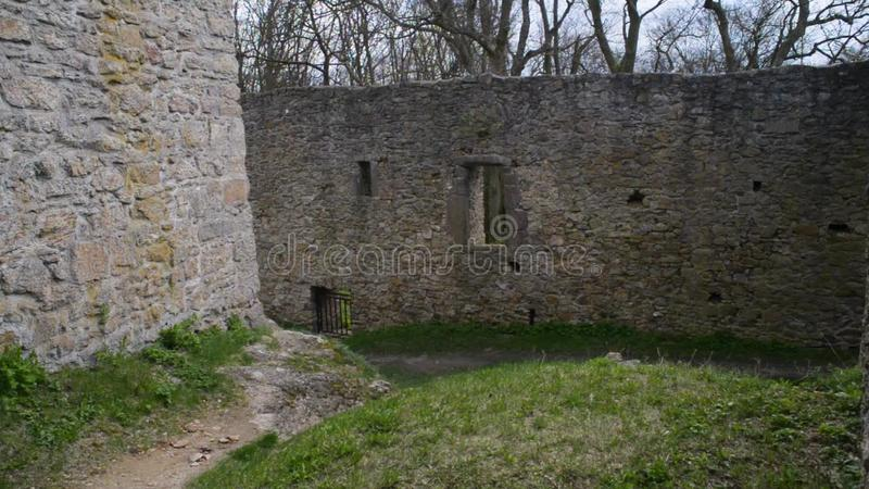 Gothic Castle Wall Courtyard Fortification Stock Footage