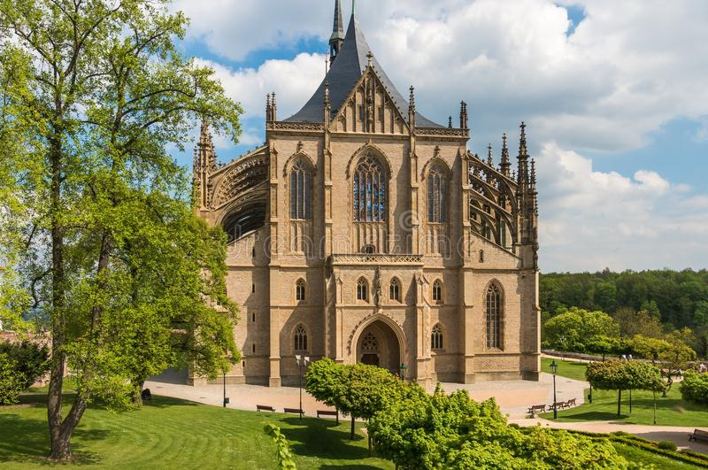 Gothic cathedral, church of Saint Barbara in Kutna Hora. Czech Republic stock photos