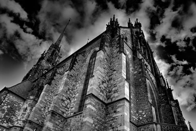 Gothic cathedral with dramatic sky royalty free stock image