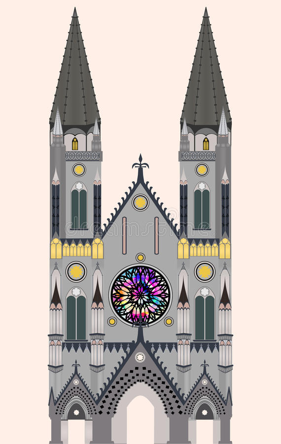 Gothic cathedral, Gothic church, Gothic temple stock image