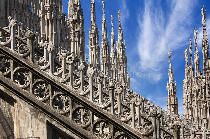 Gothic Cathedral of Milan Italy stock images
