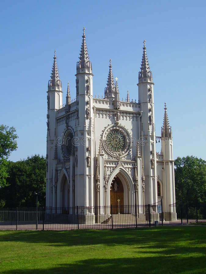 Gothic chapel in peterhof stock photography