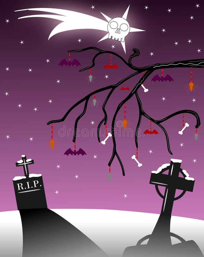 Download Gothic Christmas Greeting Card With Tombstones Stock Illustration - Illustration: 16878422