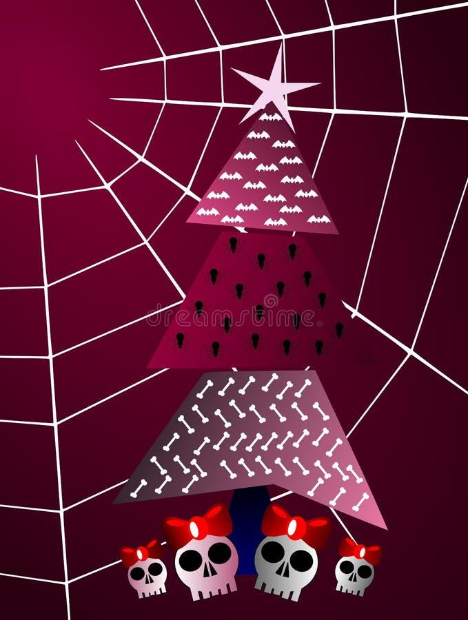 Download Gothic Christmas Greeting Card Tree And Cobweb Stock Illustration - Image: 16878444