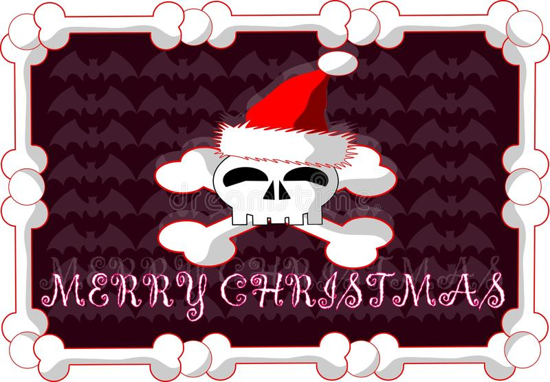 Gothic christmas greeting card with skull stock illustration