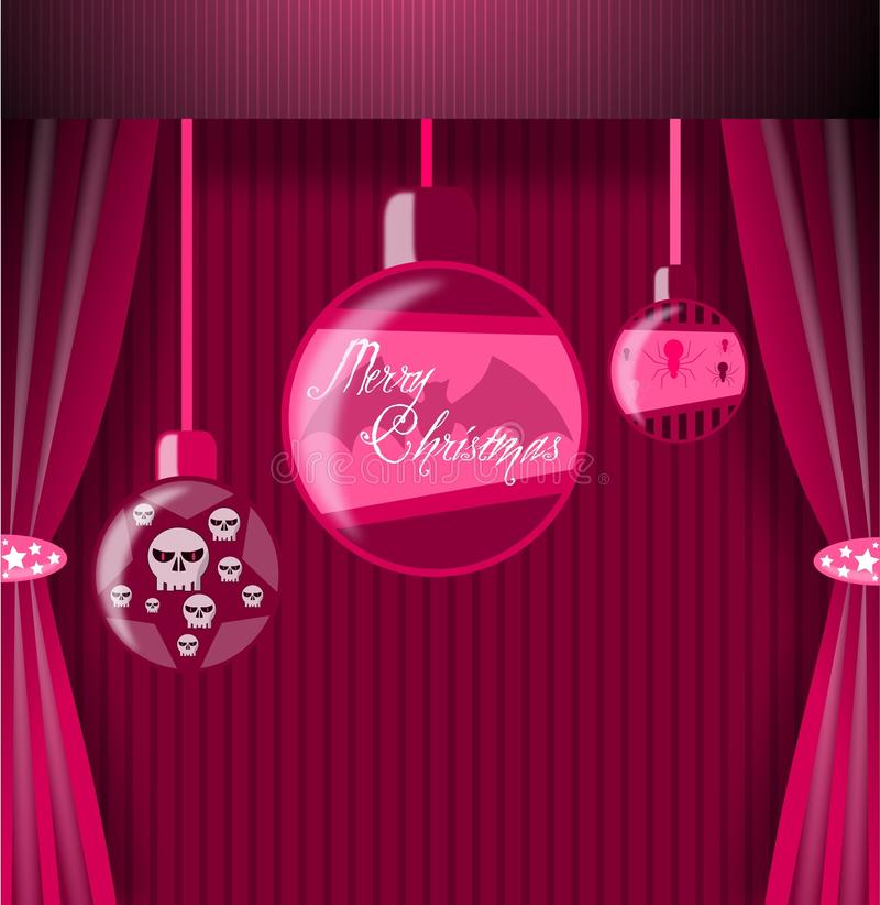 Gothic Christmas greeting card vector illustration