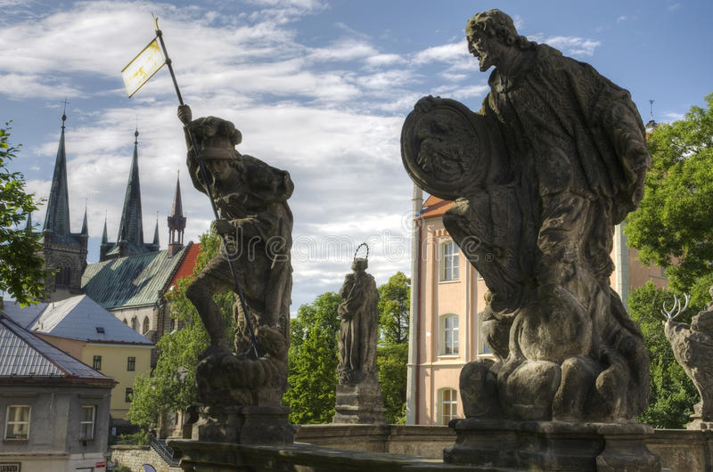 Gothic Chrudim (Czech Republic). The gothic sculptures and church in Chrudim city, Czech Republic stock photography