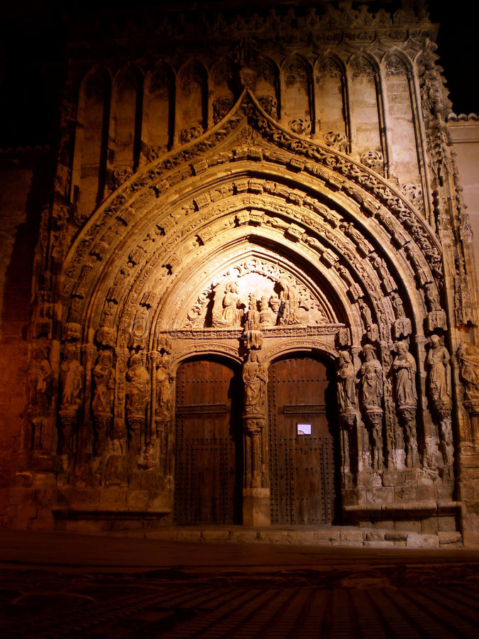 Free Gothic Church Door At Night Stock Image - 12080911