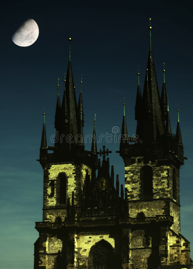 Download Gothic church with moon stock image. Image of night, moon - 1373923