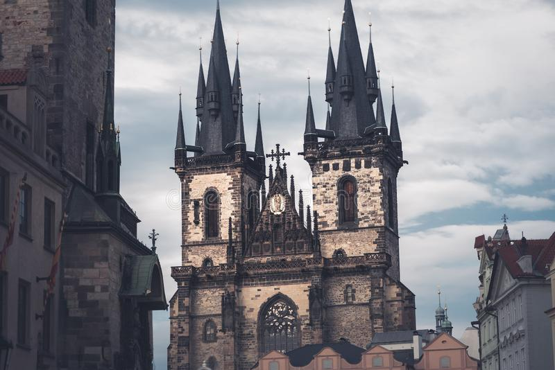 Gothic Church of Our Lady before Tyn. Prague, Czech Republic royalty free stock images