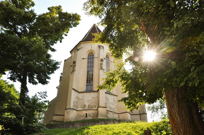 Gothic church in Sighisoara stock photography
