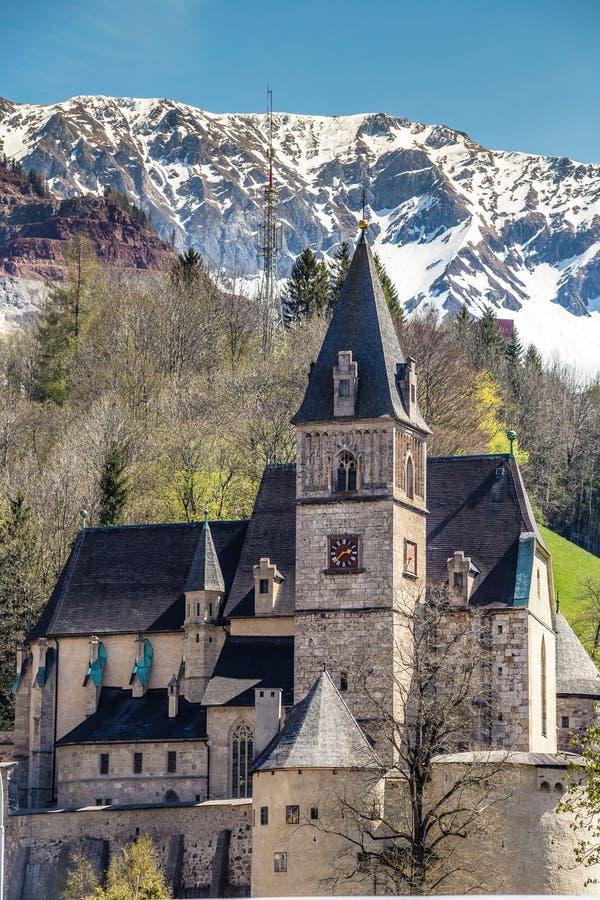 Gothic Church St Oswald- Eisenerz, Styria, Austria. Gothic Parish Church Of Saint Oswald - Eisenerz, Styria, Austria, Europe stock photography