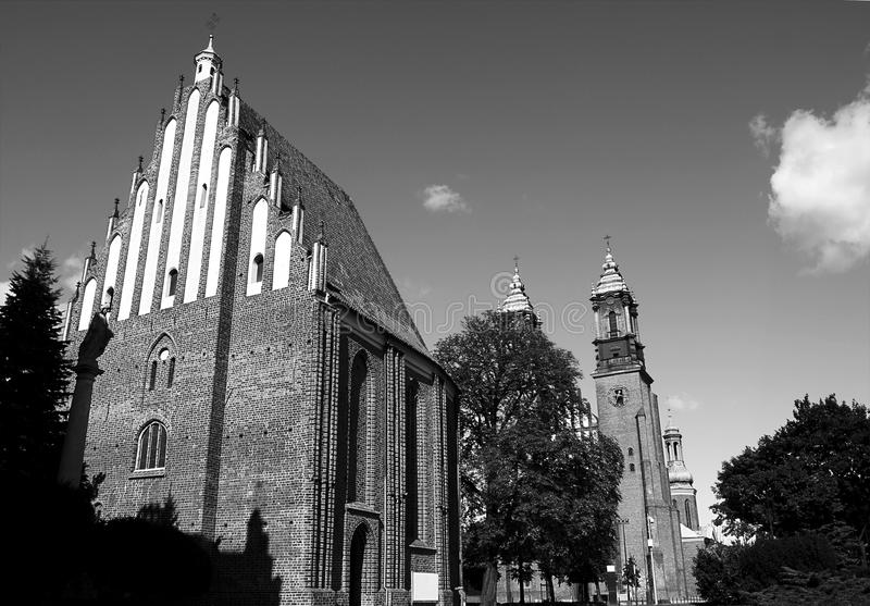 Gothic churches. Black and white gothic churches in Poznan, Poland royalty free stock photo