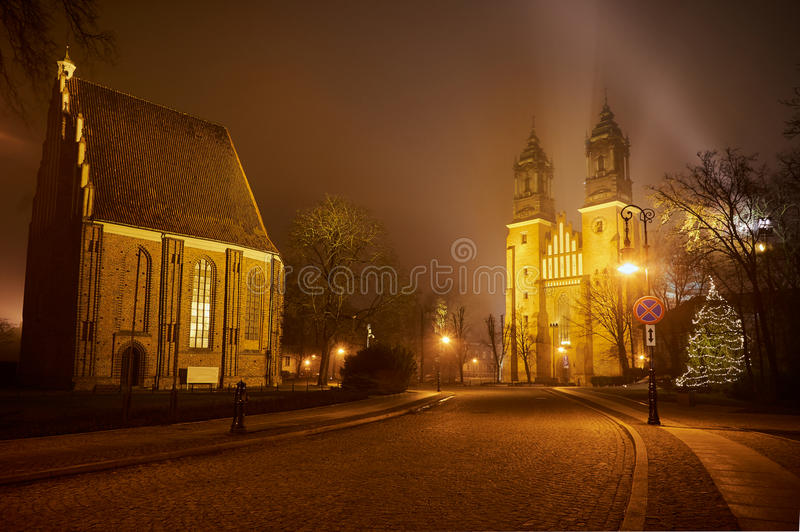 Gothic churches on Cathedral Island in fog. In Poznan stock image