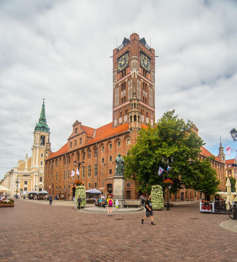 Gothic city hall in Torun stock images