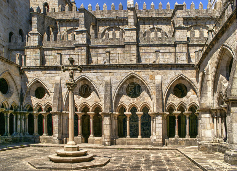 Download Gothic Cloister Of The Cathedral Of Porto Stock Photo - Image of antique, asymmetry: 83614058