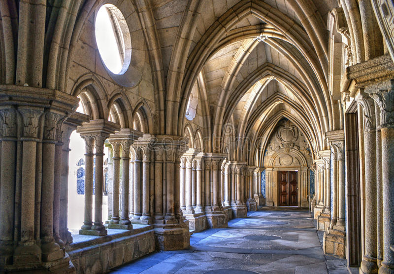 Download Gothic Cloister Of The Cathedral Of Porto Stock Image - Image of aisle, cathedral: 83614849
