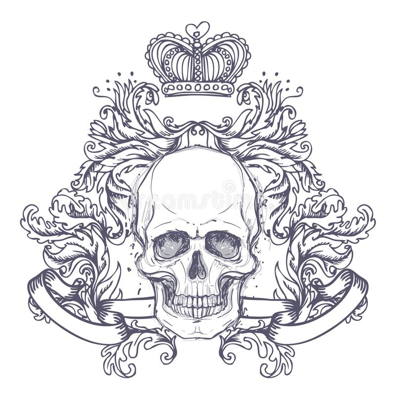 Gothic coat of arms with skull. Vintage label. Retro vector design graphic element. Hand drawn line art. Victorian tattoo stock illustration