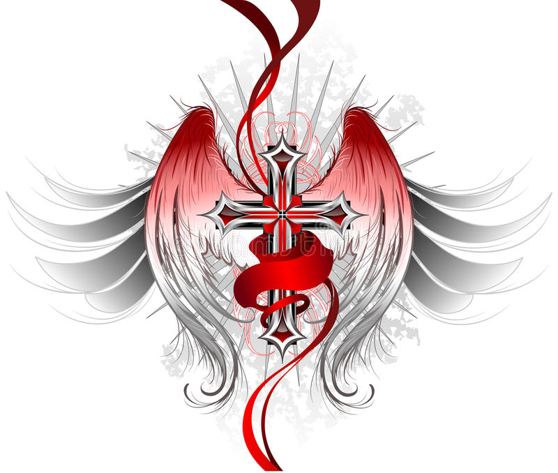 Gothic cross angel. Silver gothic cross, decorated with stylized angel wings and a bright red ribbon