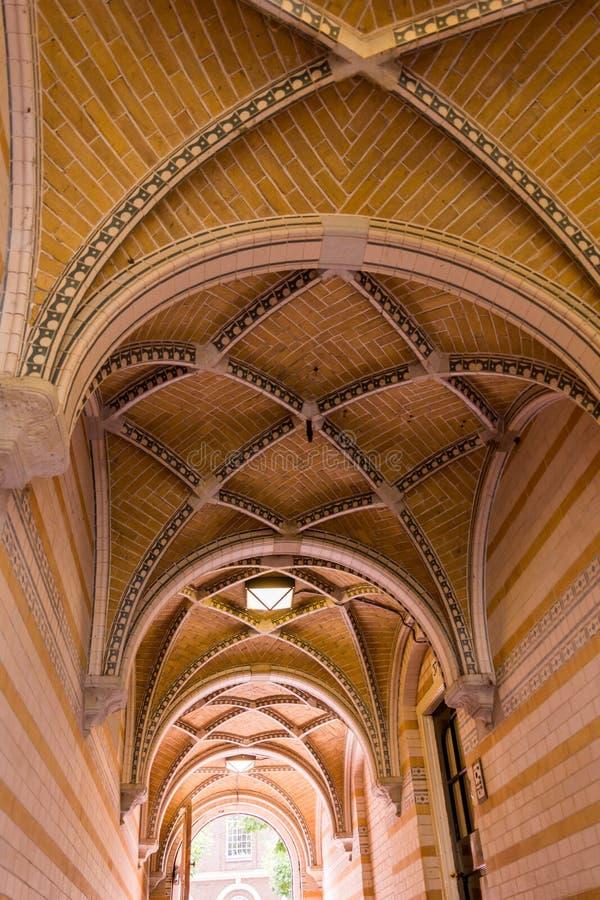 Gothic cross vault of red bricks stock photo