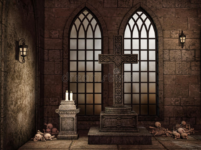 Gothic crypt with bones. Candles, lamps, and a cross royalty free illustration