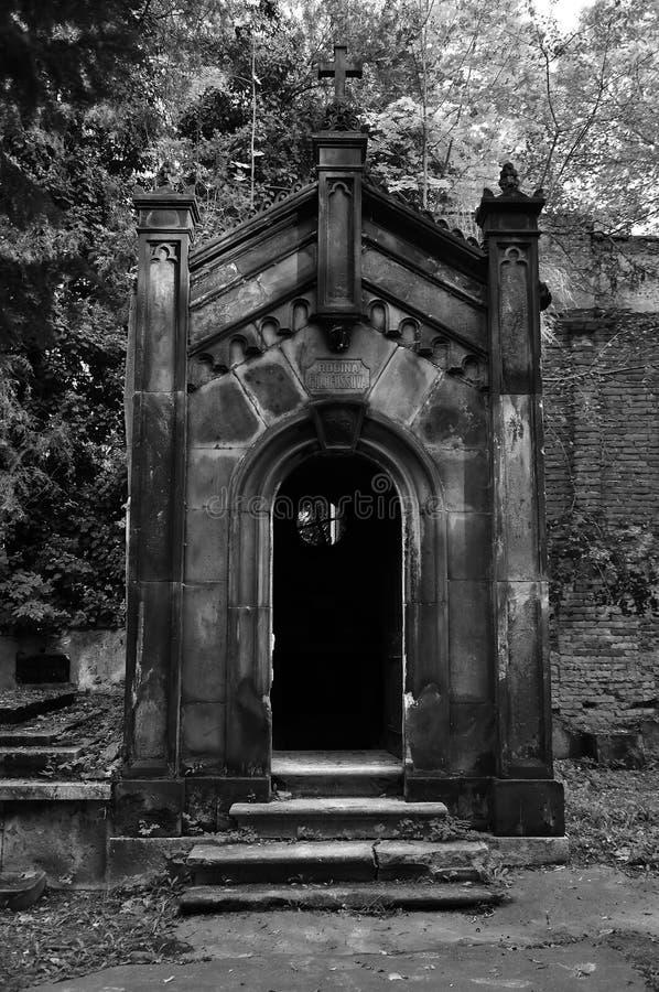 Gothic crypt on Olsany cemetery, Prague, Czech royalty free stock photography