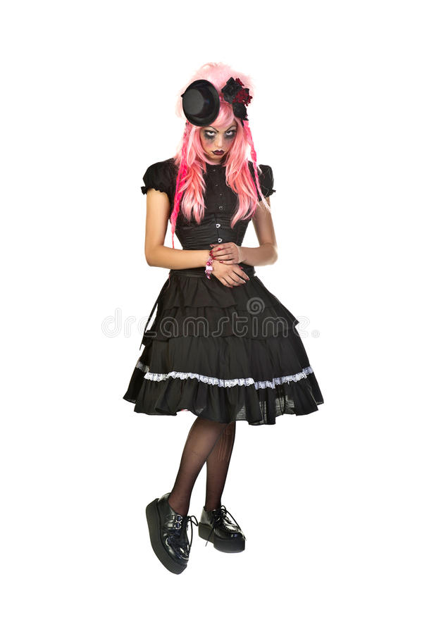 Gothic Doll. Beautiful and dark Gothic and Lolita doll charactor royalty free stock photography