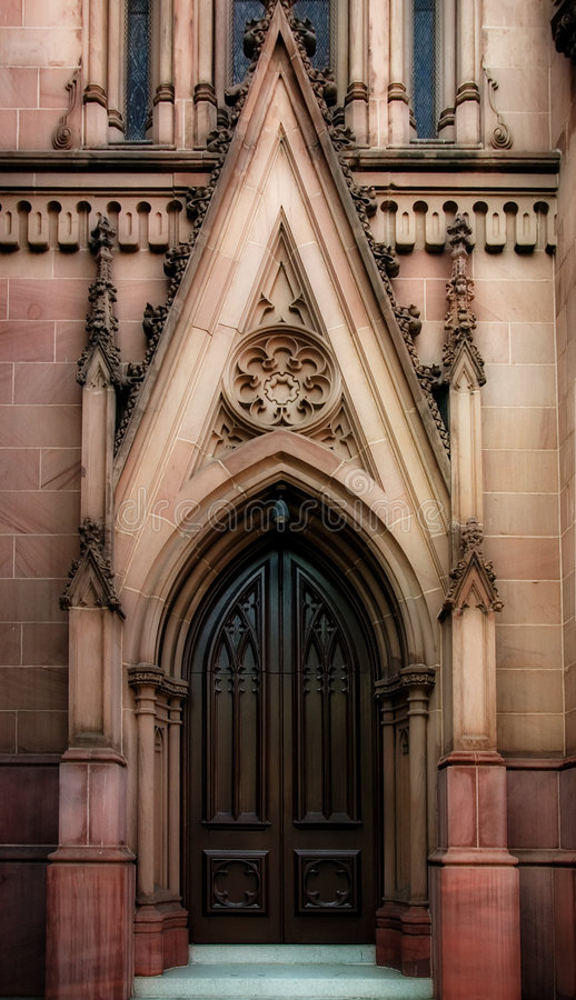 Gothic Door. An out door of a Gothic church royalty free stock photos