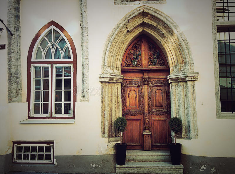 Download Gothic Door And Window Old House Stock Image