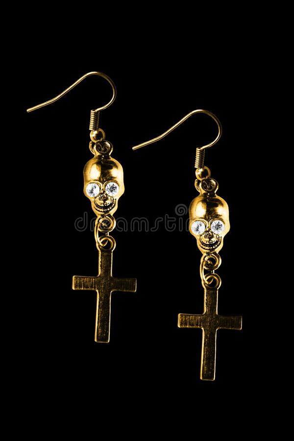 Gothic earrings isolated stock photos