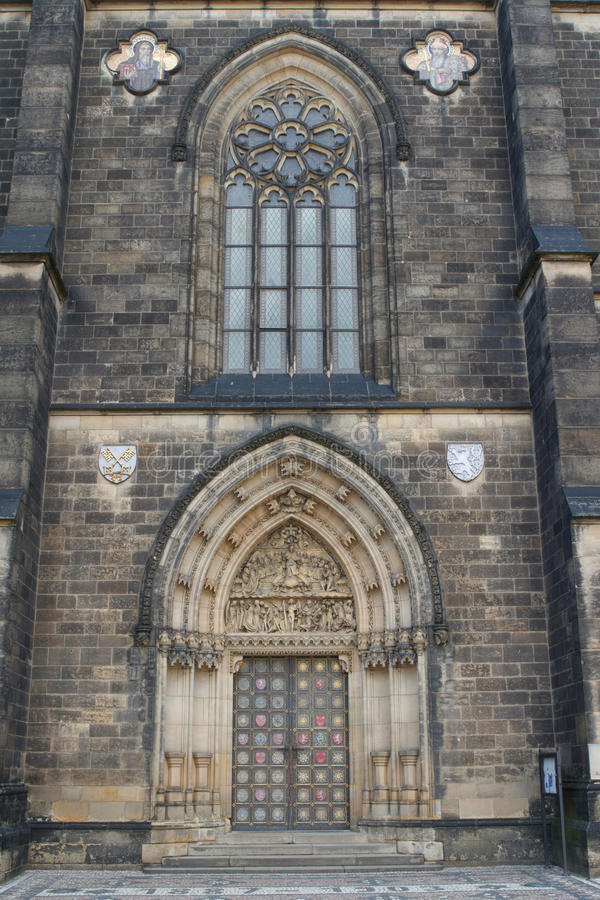 Gothic facade of the Prague basilica of St Peter and St Paul. royalty free stock photography