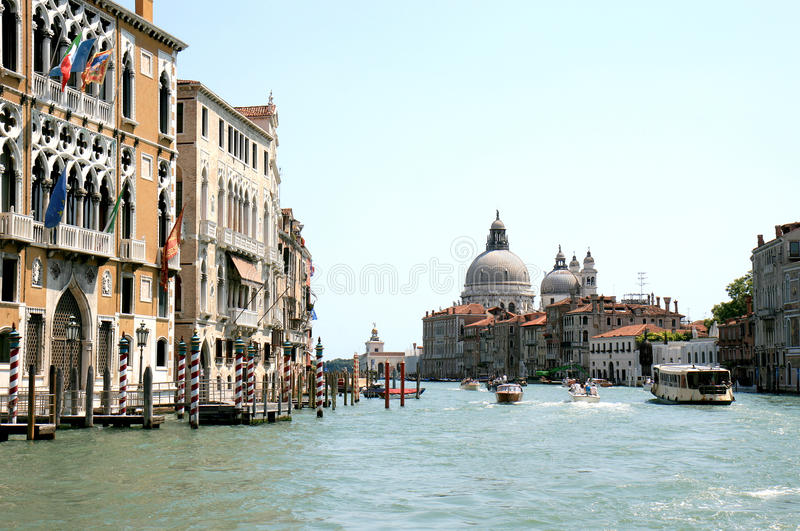 Gothic facades along the Grand Canal in Venice royalty free stock photo