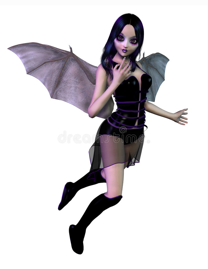 Gothic Fairy - includes clipping path. 3D render of a gothic fairy with bat wings vector illustration