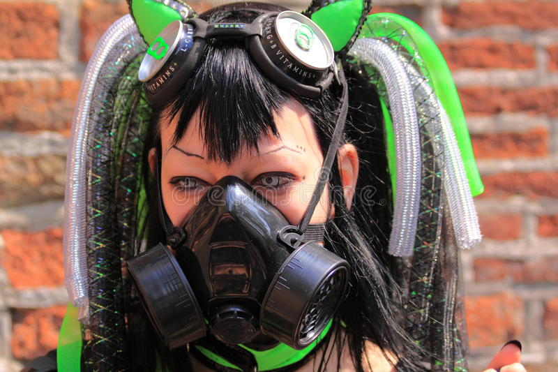 Gothic fetish girl with gasmask