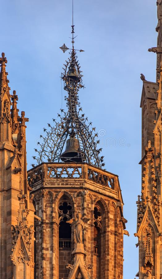 Gothic filigree ironwork detail of the bell tower of Cathedral o royalty free stock images