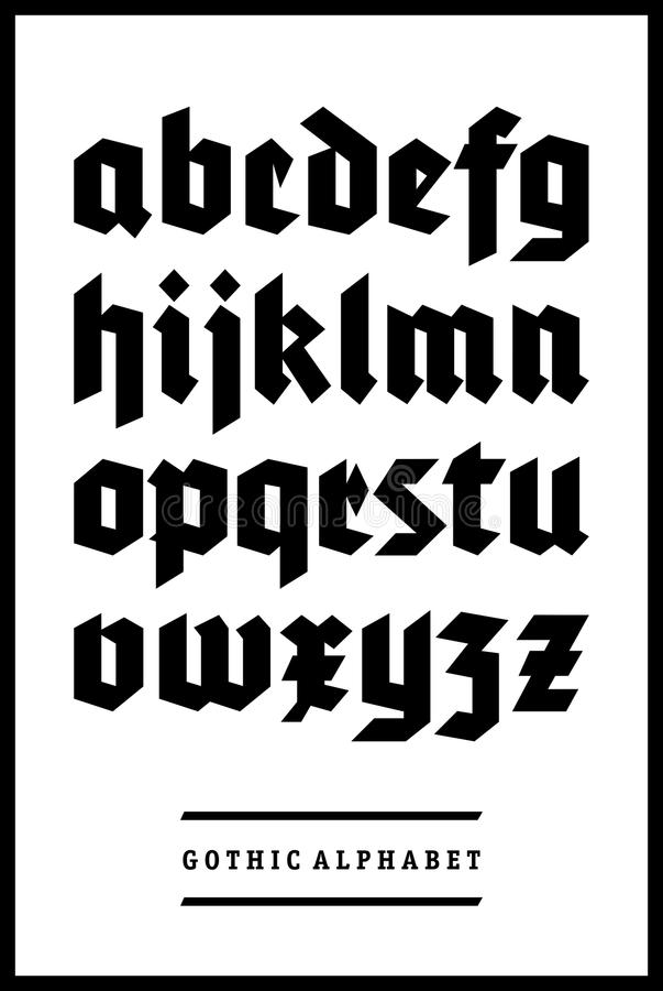 Gothic font alphabet type. Vintage germanic gothic font alphabet type stock illustration