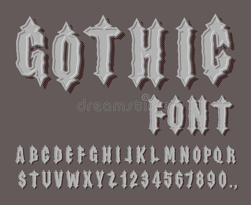 Gothic font medieval letter and digit awesome alphabet font f