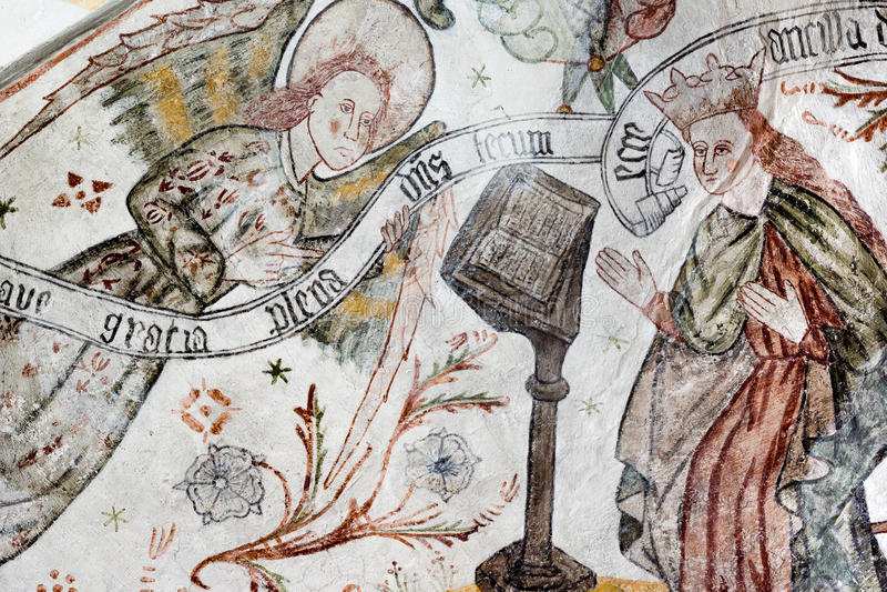 Gothic fresco of the Annunciation. Archangel Gabriel greets Mary. Fresco of the Annunciation. Archangel Gabriel greets Mary: Ave gratia plena dominus tecum royalty free stock photos