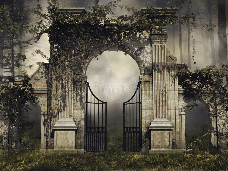 Gothic garden gate with vines royalty free illustration