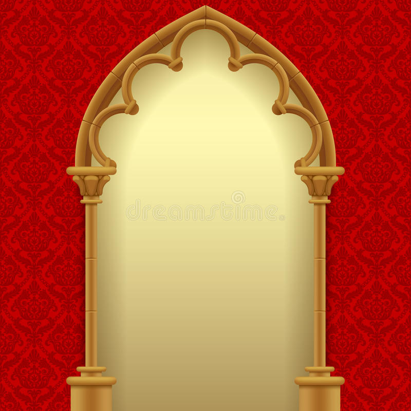 Gothic gate with red classic decorative background. Vintage architecture frame. Easy to place any your background instead of white. There is in addition a royalty free illustration